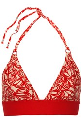 Adidas By Stella Mccartney Printed Triangle Bikini Top Red