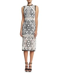 Alexis Keena Lace Overlay Cocktail Dress Black White Black White