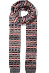 Red Valentino Cable Knit Intarsia Wool Scarf Gray