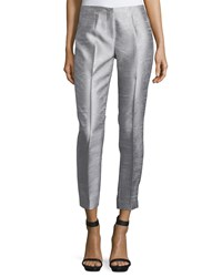 Cnc Costume National Slim Leg Cropped Trousers Silver Women's