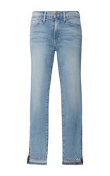 Frame Denim Le High Skinny Raw Stagger Zip Jeans Light Wash