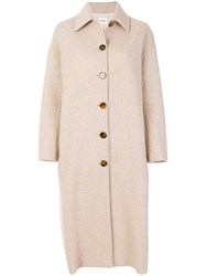 Khaite Long Button Front Coat Nude And Neutrals