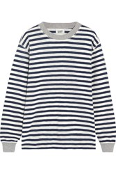Sleepy Jones Helen Striped Cotton Jersey Pajama Top Midnight Blue