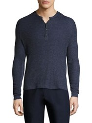 Ovadia And Sons Zack Waffle Knit Merino Wool Sweater Blue