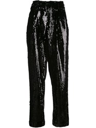 Sally Lapointe Sequined High Waisted Trousers Black