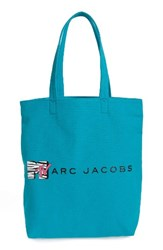 Marc Jacobs Mtv Tm Canvas Tote Blue Turquoise Multi