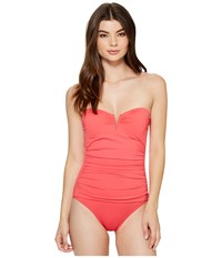 Tommy Bahama Pearl V Front Bandeau One Piece Swimsuit Calypso Pink Women's Swimsuits One Piece