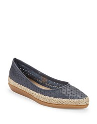 The Flexx Torri Perforated Leather Flats Blue