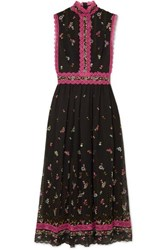 Costarellos Lace Trimmed Embroidered Silk Blend Tulle Midi Dress Black