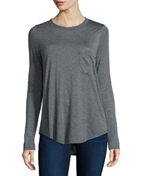 Haute Hippie Long Sleeve T Shirt W Pocket Charcoal Heather Gray Charcoal Hthrgry