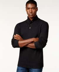 Sean John Button Neck Sweater Pm Black