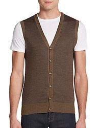 Saks Fifth Avenue Mini Dot Cardi Vest Brown