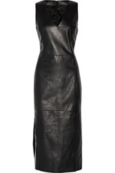 Drome Leather Midi Dress Black