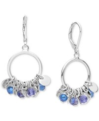 Lonna And Lilly Tone Shaky Blue Bead Disc Drop Hoop Earrings Silver