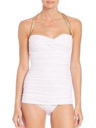 Norma Kamali One Piece Ruched Halter Swimsuit White