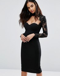 Misha Collection Sweetheart Pencil Dress With Eyelash Lace Sleeves Black