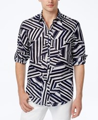 Inc International Concepts Men's Shattered Abstract Print Shirt Only At Macy's Basic Navy