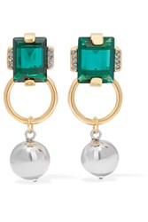 Marni Gold And Silver Tone Crystal Earrings Green