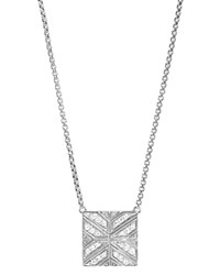 John Hardy Sterling Silver Modern Chain Diamond Square Pendant Necklace 16 White Silver