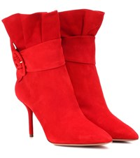 Aquazzura Palace 85 Suede Ankle Boots Red