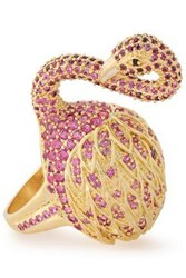 Noir Jewelry Woman 14 Karat Gold Plated Crystal Ring Gold