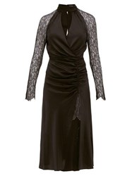Jonathan Simkhai Lace Sleeve Ruched Front Silk Blend Dress Black