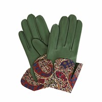 Gizelle Renee Palesa Green Leather Gloves With Bm Liberty Tana Lawn