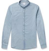 Brunello Cucinelli Grandad Collar Cotton Chambray Shirt Light Blue