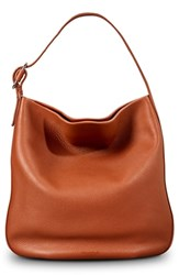 Shinola Birdy Grained Leather Hobo Bag Brown Bourbon