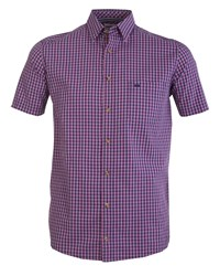Double Two Checked Short Sleeve Casual Shirt Pink