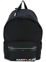Saint Laurent Logo 'City' Backpack Men Cotton One Size Black