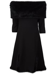 Christian Siriano Fur Detail Off The Shoulder Dress Black