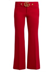 Gucci Gg Stretch Cady Kick Flare Trousers Red