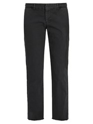 Nili Lotan East Hampton Mid Rise Cotton Blend Chino Trousers Dark Grey