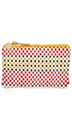 Clare V. Wallet Clutch In Red. Multi Plaid Woven