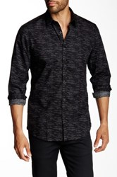 Calibrate Trim Fit Long Sleeve Dotted Line Spread Collar Shirt Black