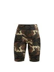 The Upside Camouflage Print Performance Shorts Green Multi