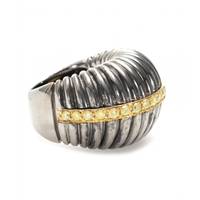 Roberto Marroni Oxidized Sterling Silver Ring With Yellow Diamonds Set On 18Kt Yellow Gold