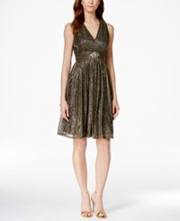 Jessica Howard Metallic Jeweled Halter Dress Black Gold