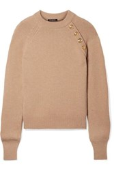 Balmain Button Embellished Wool And Cashmere Blend Sweater Beige