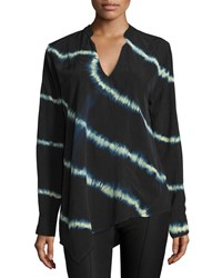 Nu Construction Lightning Tie Dye Asymmetric Blouse Midnight Natural