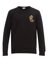 Alexander Mcqueen Zardozi Embroidered Logo Cotton Sweatshirt Black