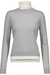 Adam By Adam Lippes Two Tone Merino Wool Turtleneck Sweater Light Gray