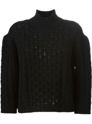 Simone Rocha Chunky Cable Knit Sweater Black