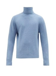 Allude Ribbed Roll Neck Wool Sweater Light Blue