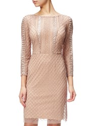 Adrianna Papell Beaded Three Quarter Sleeve Cocktail Dress Rose Gold