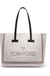 Tom Ford T Medium Leather Trimmed Printed Cotton Canvas Tote Beige