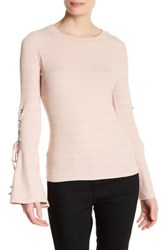 Lunik Lace Up Bell Sleeve Stripe Shirt Pink