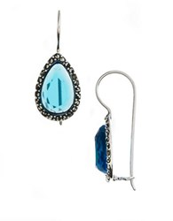 Lord And Taylor Sterling Silver Marcasite Crystal Drop Earrings Aqua