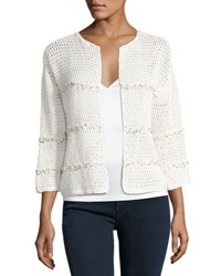 Joie Jacquine Open Front Cardigan Sweater White Natural